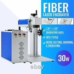 30W 7.9 ×7.9 Fiber Laser Marking Machine Rotary Optional Metal Engraver Marker