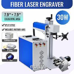 30W 7.9 × 7.9 Fiber Laser Marking Metal Steel Engraver Raycus w. Rotary Axis