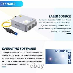 30W 7.9 x 7.9 Raycus Metal Fiber Laser Marking Maker Engraver Manual Focus New