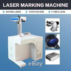 30W Desktop Fiber Laser Marking Machine With Rotary Axis 7.9x7.9 Metal Engraver