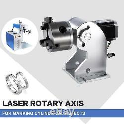 30W Fiber Laser Marking Machine With Rotary Axis 7.9x7.9 Metal Engraver Engraving