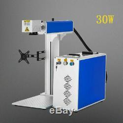 30w fiber laser marking machine+ rotary axis attachment metal non-metal engraver