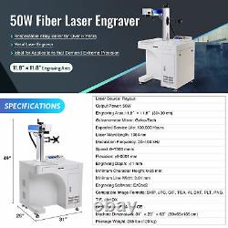 50W 11.8x11.8in Raycus Fiber Laser Marking Metal Laser Engraver with Rotary Axis