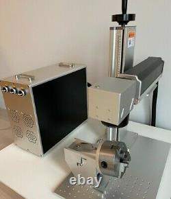 50W JPT Fiber Laser Marking 2 Lenses Easy Focus Rotary #125 LED Light US Support