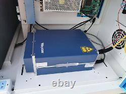 50W Raycus Fiber Laser Marking Machine Metal marking and cutting 80mm rotaryaxis