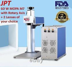 60W MOPA JPT M7 Fiber Laser Marking Machine 2 Lenses Of Your Choice Rotary Axis