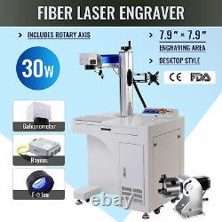7.9 × 7.9 30W Cabinet Fiber Laser Marking Metal Marker Engraver with Rotary Axis