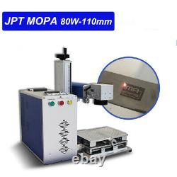 80W JPT MOPA M7 Fiber Laser Marking Machine 110110mm Lens With 80mm Rotary Axis