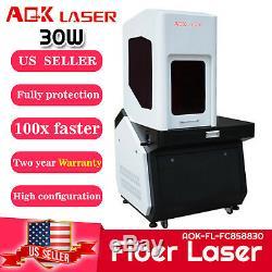 AOK LASER Enclosed 30w Q-switched Fiber Laser engraver Marking Machine