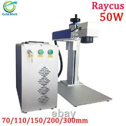 Auto focus Raycus 50w fiber laser marking machine with rotary 110mm 300mm lens