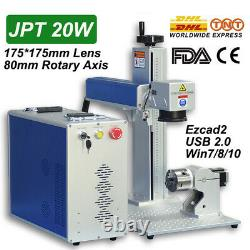 JPT 20W Fiber Laser Marking Machine 175x175mm Engraving Machine 80mm Rotary Axis