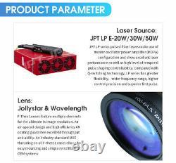 JPT 50W Fiber Laser Split Marking Machine Metal Engraver Engraving 175mm Lens