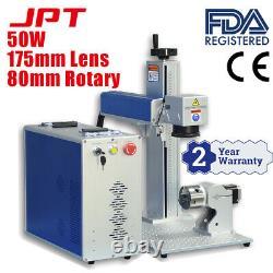 JPT 50 Watt Fiber Laser Engraver and Rotary D80 Laser Marking Machine 175mm Lens