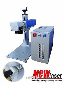 MCWlaser 20W MOPA Fiber Laser Marking Machine & Rotary Aluminum Black Color