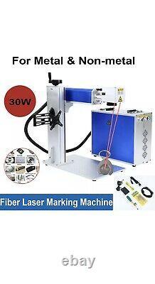 Max 30w Fiber Laser Marking Machine Metal & Plastic Rotary Axis + 2 Lenses