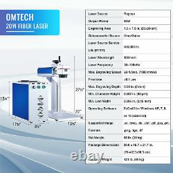 OMTech 20W Fiber Laser Marking Machine 8x8 Laser Engraver for Steel Gold & More
