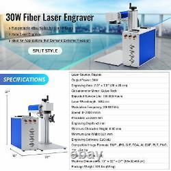 Preenex 30W 7.9 x 7.9 Fiber Laser Marking Machine Metal Marker with Rotary Axis