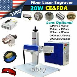 US Stock 20W Split Fiber Laser Marking Engraving Machine, Rotary Axis Include