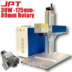 US Stock 30W JPT Laser Marker Fiber Laser Marking Machine 175175mm 80mm Rotary