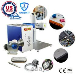 US Stock 30W Split Fiber Laser Marking and Engraving Machine Rotary Axis Include