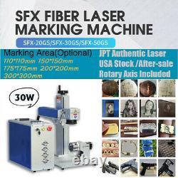 US Stock JPT 30W Fiber Laser Marking Machine Laser Engraver Marker Lens Rotary