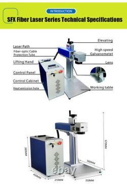 US Stock JPT 50Watt Fiber Laser Engraver Laser Marking Machine with 80mm Rotary
